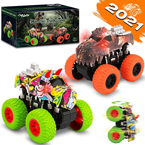 Toys for 3 Year Old Boys - Dinosaur Toys Monster Trucks Toys for Boys Pull Back Cars Toy Cars for Toddler Friction Powered Cars Birthday Gifts for Kids 2 3 4 5 6 7 Year Old Boys Girls