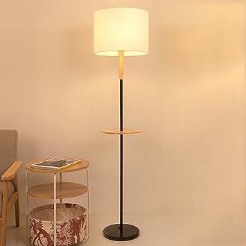 MILUCE Lámpara de pie de tela de acero inoxidable madera ...