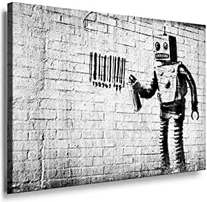 Banksy Graffiti Street Art 1253. Size 100x70x2cm(l/h/w). Canvas On Wooden Frame. Made In Germany.
