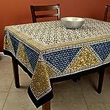 India Arts Handmade Cotton Geometric Floral Print Tablecloth Square Beach Sheet Beach Throw (Blue Tan, Square 70 x 70 inches)