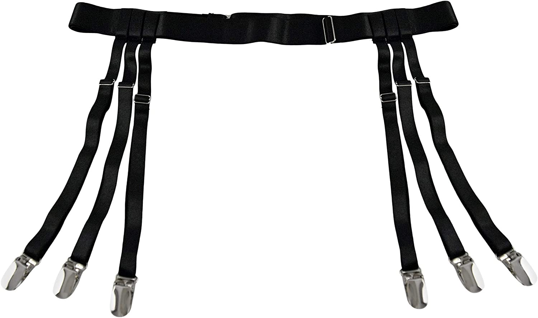 HOME-X Garter Belt for Women, Black 22-40 Inches Waist Adjustable Suspender Garter Belt for Thigh High Stockings, Metal Clips
