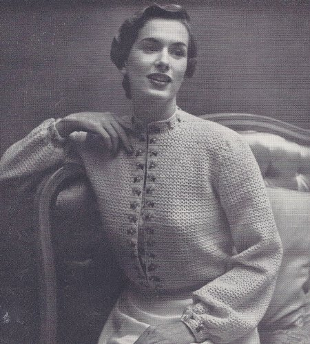 Vintage Crochet PATTERN to make - Mandarin Collar Bed Jacket Sweater. NOT a finished item. This is a pattern and/or instructions to make the item only. ()