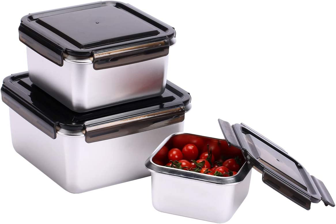 EAMATE Stainless Steel 316 Food Container, Large Capacity Leak-proof Nested Storage Box (170 oz in total: 95oz/50oz/25oz), Great for Meal Prep Lunch and Outing, Set of 3 (Square)