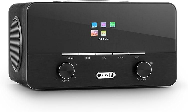 AUNA Connect 150 Radio Internet 2.1 avec WiFi et Lecteur multimédia USB (Tuner Dab+ et FM, 2 réveils, écran Couleur, égaliseur) Noir