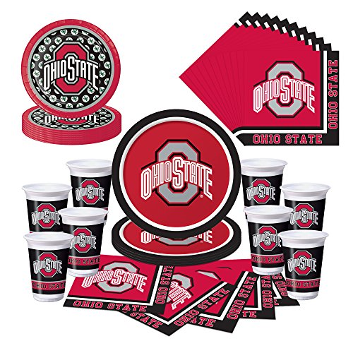 Ohio State Buckeyes OSU Party Pack - Plates, Cups, Napkins (State Supply)