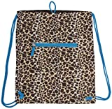 Leopard Print Drawstring Backpack (Blue)