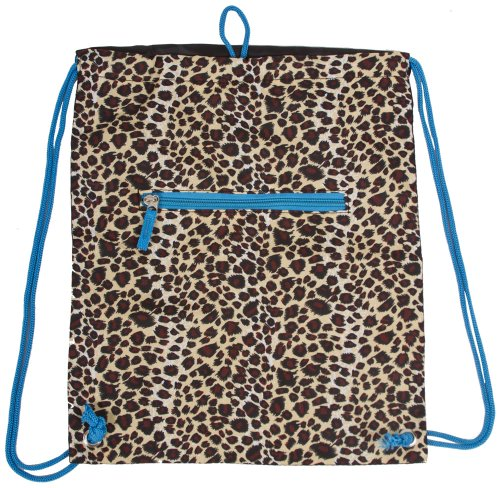 Leopard Print Drawstring Backpack (Blue) by Unknown