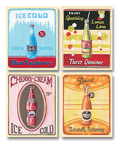 Classic 50's Era Vending Machine Ice Old Soda Sign Prints; Four 11x14 (Antique Soda Machines)