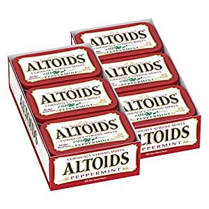 ALTOIDS--Curiously Strong Peppermint Mints--Peppermint Flavored Powerful Mints--Freshen Breath--12-1.76oz. Resealable, Pocket-Sized Tins