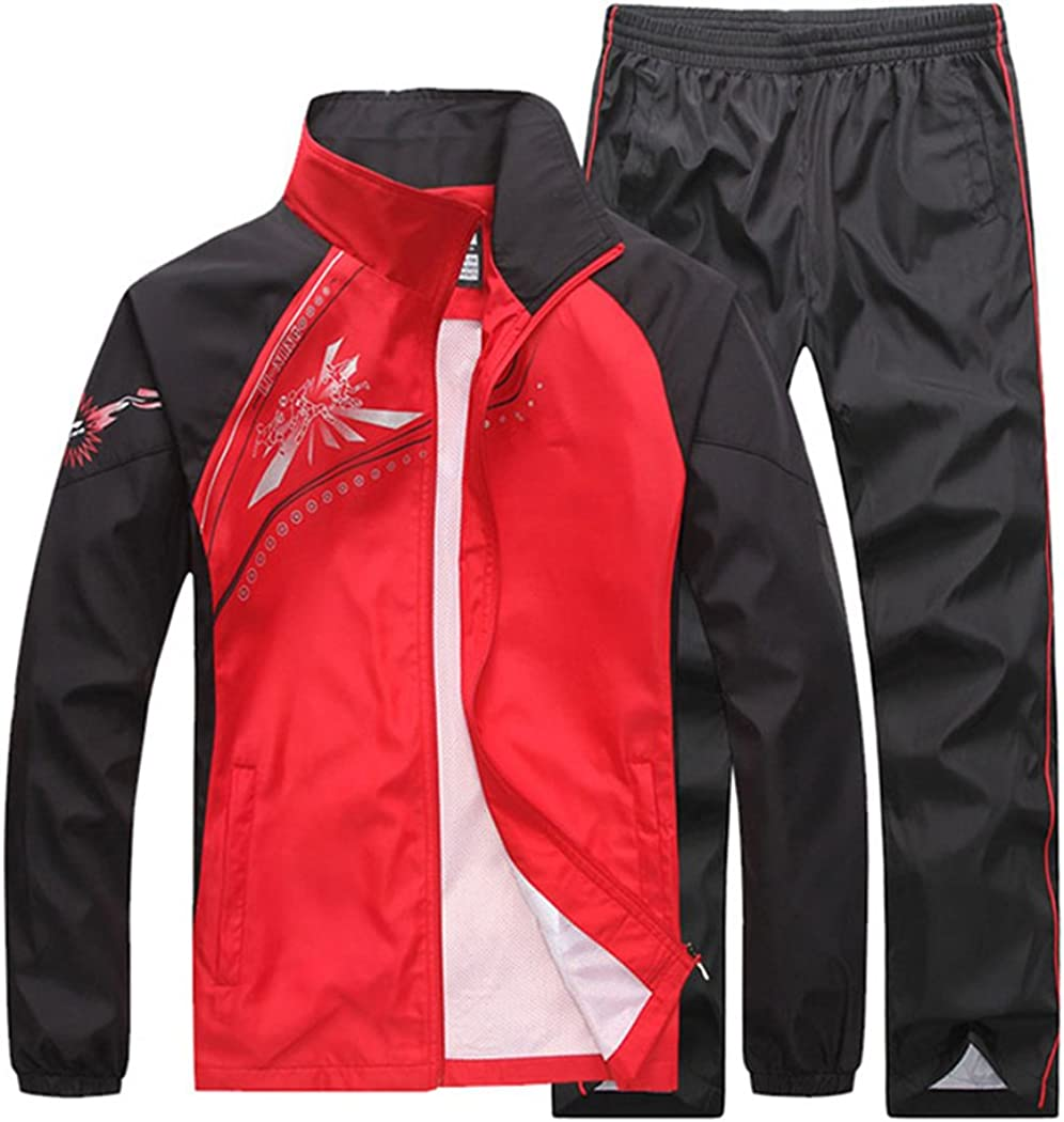 Novembers Chopin Mens Fitted Exercise Tracksuit Set 2 Pieces Full-Zip Casual Jogging Athletic Workout Sweat Suits