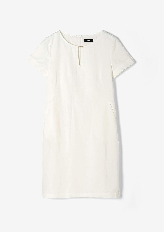 s.Oliver BLACK LABEL Damen Leinenmix-Kleid mit Stabperle