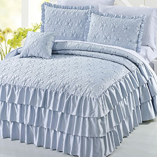 Home Soft Things Serenta 4 Piece Matte Satin Ruffle Quilted Bedspread Set, King, Light (Satin Ruffle)
