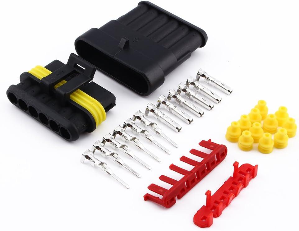 6 Pin Way Wasserdichte Elektrische Draht Stecker 1 5mm Terminals Schrumpfschnellverriegelung Kabelbaum Steckdosen Für Kfz Motorrad Lkw Auto