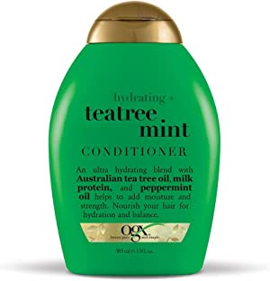 OGX Hydrating + Tea Tree Mint Conditioner, Nourishing & Invigorating Scalp Conditioner with Tea Tree & Peppermint Oil & Milk Proteins, Paraben-Free, Sulfate-Free Surfactants, 13 fl oz