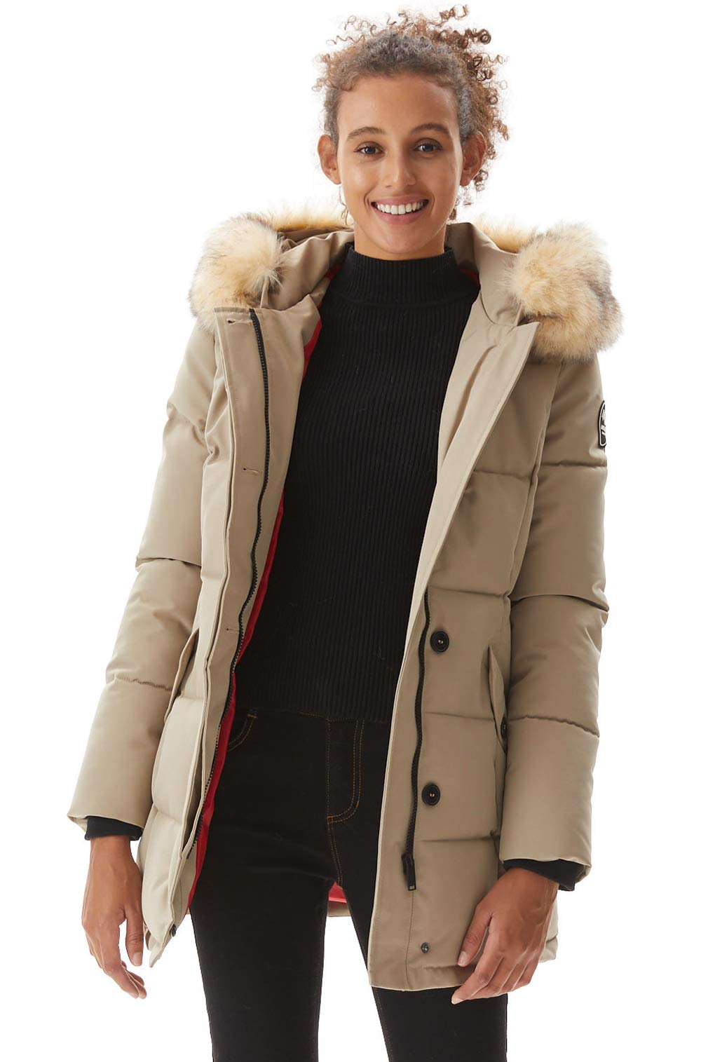 Molemsx Heavy Winter Coat for Women, Womens Classic Club Padded Jacket Warm Puffer Coat Parka Jacket with Fur Trimmed Hood Beige X-Large by Molemsx
