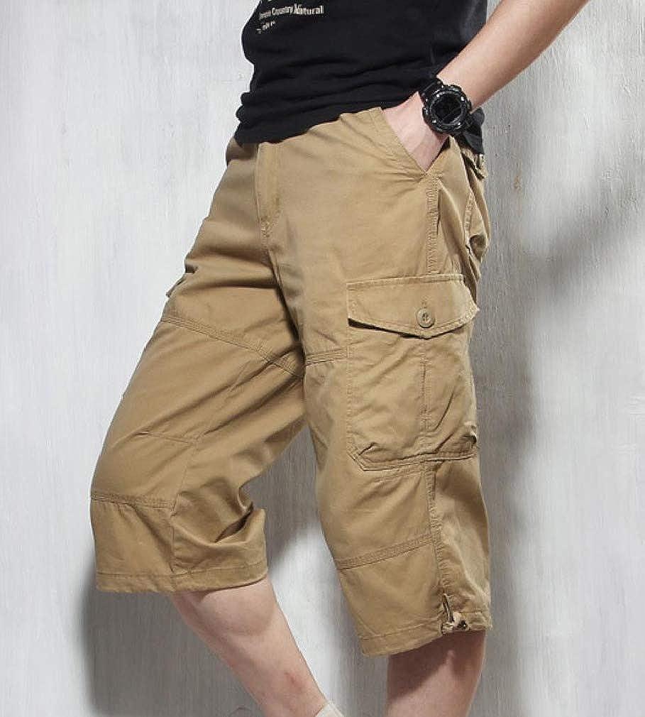 Winwinus Mens Solid-Colored Capri Pant Multi Pockets Trim-Fit Cargo Work Pant