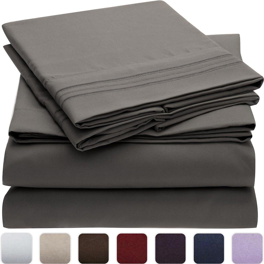 グレー 深いマチ B00O35CYQG Mellanni 4点ツイン グレー 701722982406 ツイン ツイン|グレー 低刺激 高品質な起毛加工マイクロファイバープリント床敷き ベッドシーツセット 色褪せ 汚れ防止 しわ