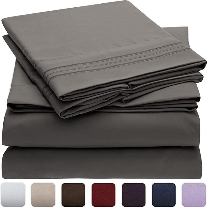Mellanni Bed Sheet Set   Brushed Microfiber 1800 Bedding   Wrinkle, Fade, Stain Resistant   Hypoallergenic   4 Piece (Queen, Light Gray) by Mellanni