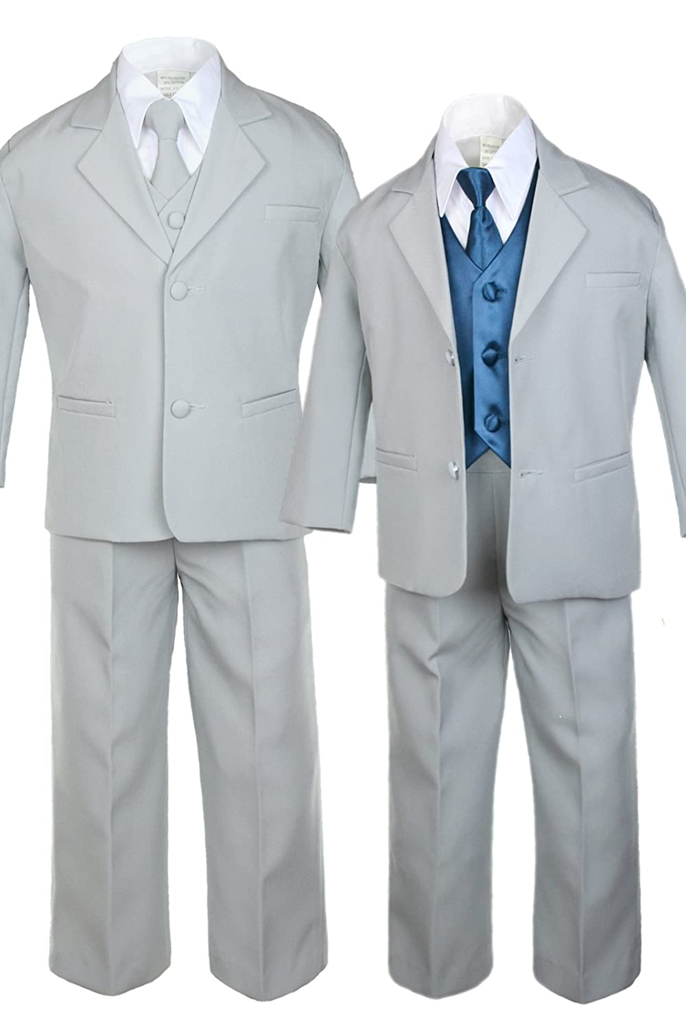 Unotux 7pc Boys Silver Suit with Satin Green Teal Vest Set from Baby to Teen