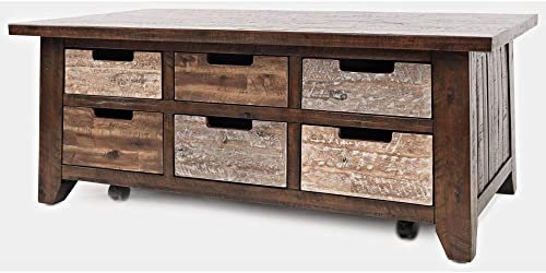 Jofran Painted Canyon Box Distressed Cocktail Coffee Table