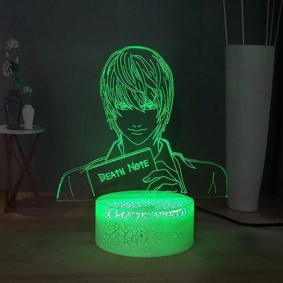 Tueur Kira 3D Lampe de Table Optique Death Note Yagami Raito