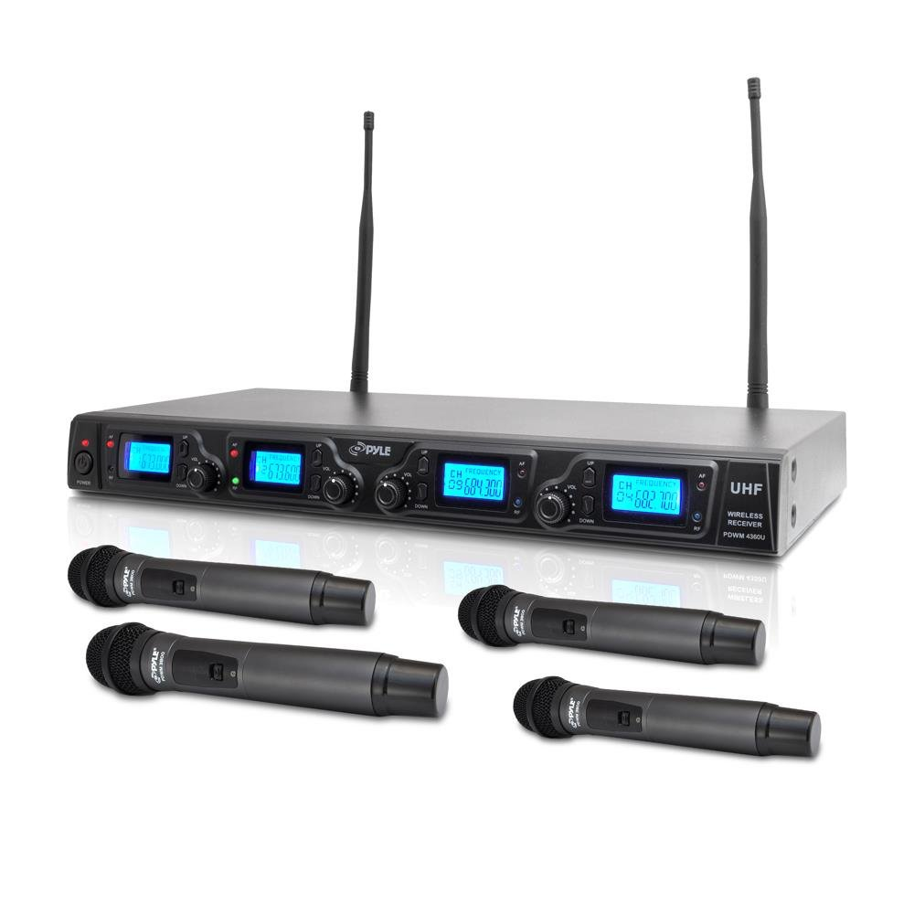 PYLE PDWM4360U 4 Channel UHF Adjustable Fequencies Wireless Microphone System, UHF, 4 Handheld Microphones, Rack Mountable by Pyle