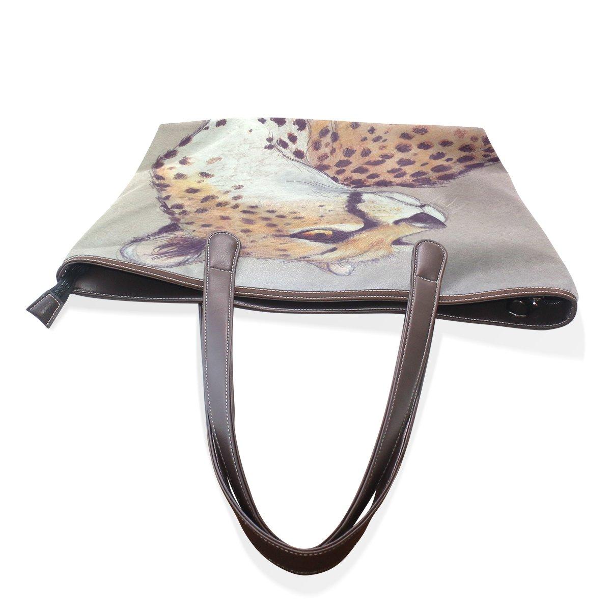 SCDS Leopard PU Leather Lady Handbag Tote Bag Zipper Shoulder Bag