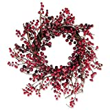Decorative Holly Berries 20'' Fall and Winter Wreath for Front Door or Indoor Wall Décor to Celebrate Thanksgiving & Christmas Season