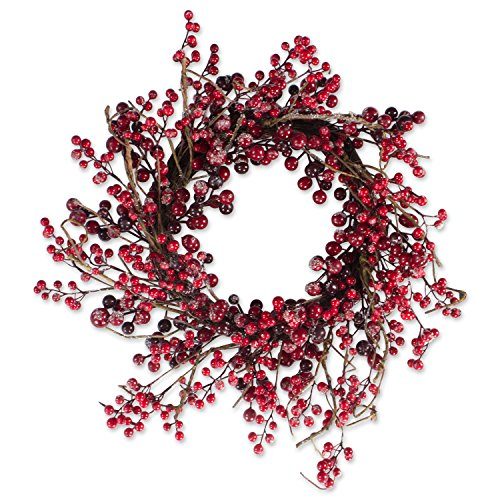 Decorative Holly Berries 20'' Fall and Winter Wreath for Front Door or Indoor Wall Décor to Celebrate Thanksgiving & Christmas Season by DII