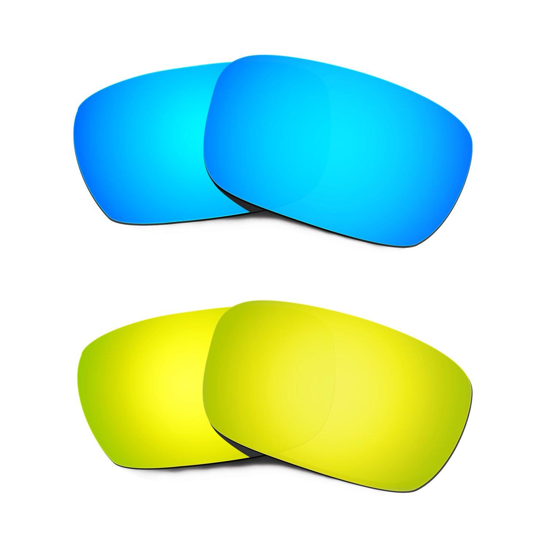Hkuco Plus Replacement Lenses For Oakley Jury Blue/24K Sunglasses