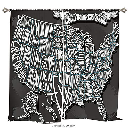 Rod Pocket Curtain Panel Thermal Insulated Blackout Curtains for Bedroom Living Room Dorm Kitchen Cafe/2 Curtain Panels/55 x 45 Inch/USA Map,American Towns Calligraphy Style City Geography National -