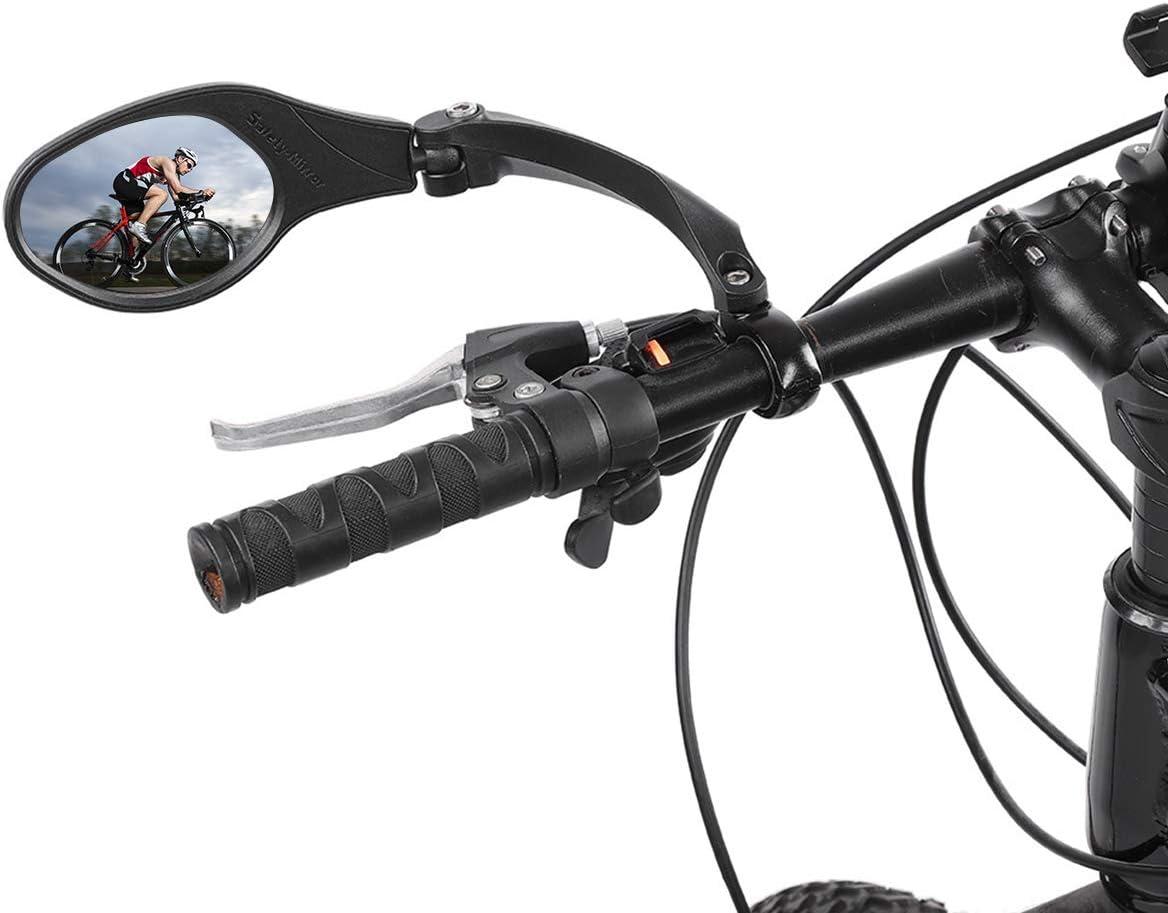OhhGo Espejo de Bicicleta Acero Inoxidable 360 rotación Manillar Espejo retrovisor Seguro para Bicicleta Ciclismo Mountain Road Bikes Negro 8.3 * 6cm: Amazon.es: Deportes y aire libre