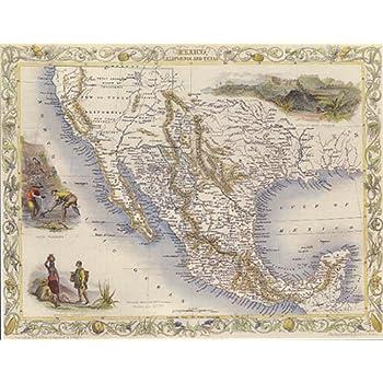 Amazon.com: MAP 1800 MEXICO CALIFORNIA TEXAS 16\