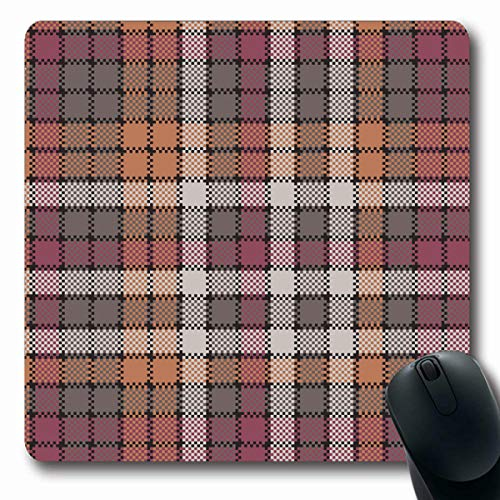 LifeCO Computer Mousepads Celtic Red Britain Mosaic Tartan Check Plaid Flat Pixel Abstract British Checkered Classic Color Oblong Shape 7.9 x 9.5 Inches Oblong Gaming Mouse Pad Non-Slip Rubber