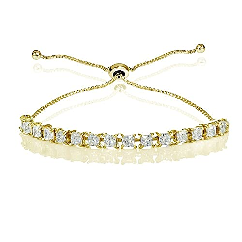 GemStar USA Sterling Silver Cubic Zirconia 3mm Princess-cut Adjustable Bolo Tennis Bracelet