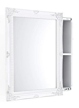 Amazon De Pureday Spiegelschrank Mit Schiebetur Mdf Holz Weiss 80 X