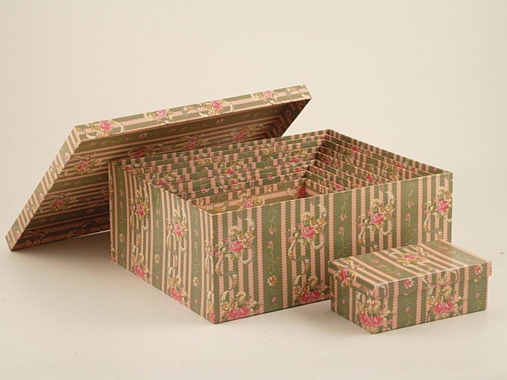Set 10 cajas de almacenaje de cartón con rayas y flores: Amazon.es: Hogar