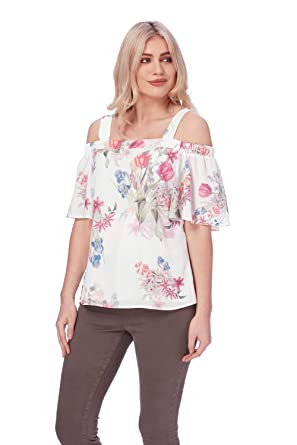 c283dd0fde4 Roman Originals Women Floral Print Cold Shoulder Top - Ladies Bardot  Holiday Summer Boho Tops - Pink - Size 20: Amazon.co.uk: Clothing