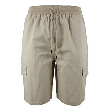 11a148ab55 Yasumond Men's Casual Cargo Shorts Twill Cotton Elastic Waist Outdoor  Athletic Lightweight Shorts Beige