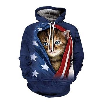Sudaderas con capucha para hombres, Sudaderas con capucha para gatos, Estampados de gatos azules