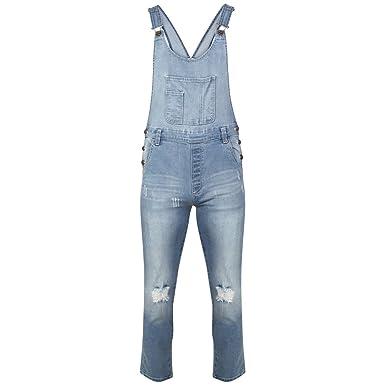 9963e188ccb5 Ladies Womens Regular Fit Fades Denim Dungaree Jumpsuit UK Size 8-16   Amazon.co.uk  Clothing