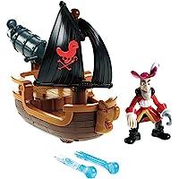 Jake Mattel W5264 Disney piratas de Nunca Jamás - Garfio con barco cañonero