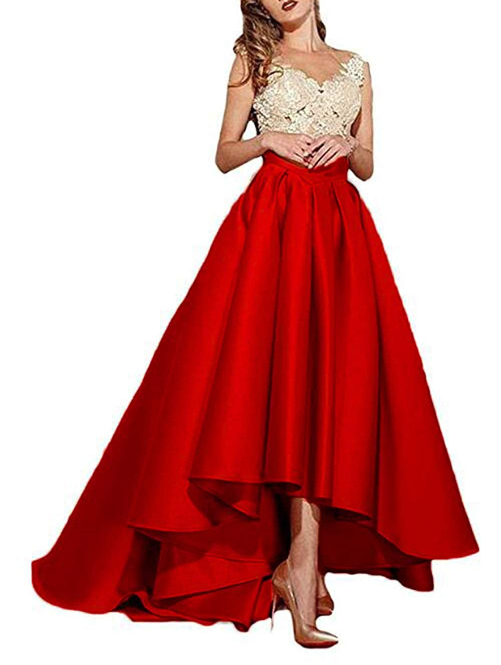Red alilith.Z Sexy Lace Appliques Prom Dresses High Low Formal Evening Dresses Party Gowns for Women