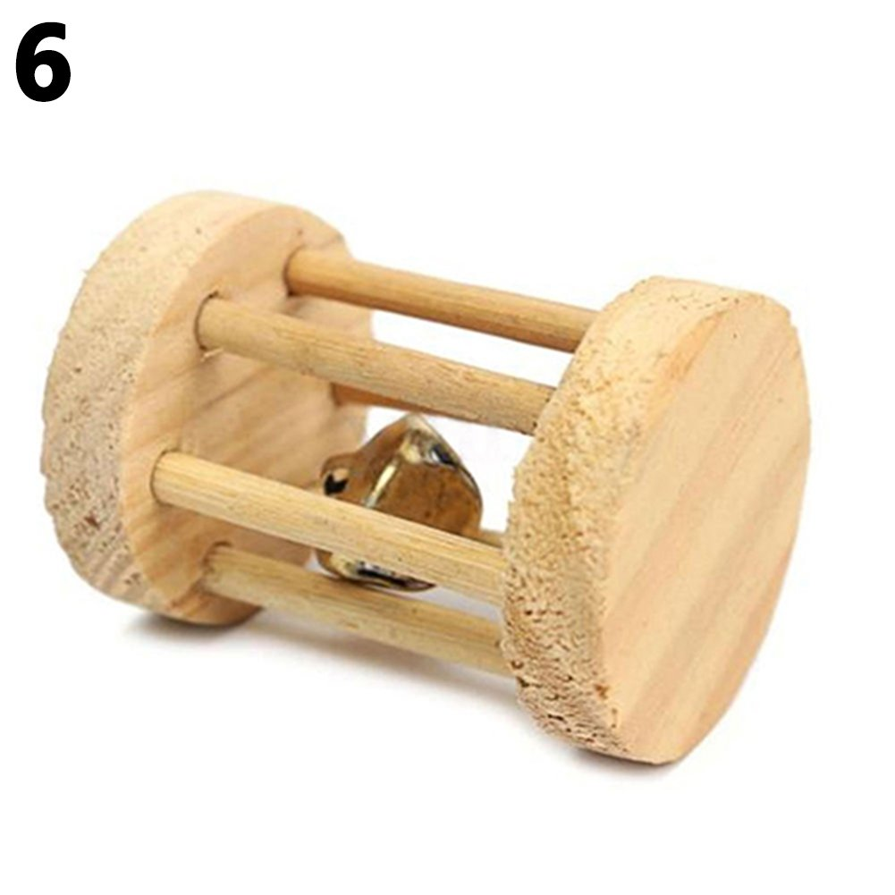 Bluelans Natural Dumbells Unicycle Bell Roller Pet Chew Toy for Guinea Pigs Rat Rabbits Xmas Gifts