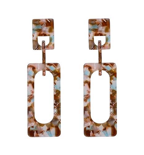 3fe2de6fa NVENF Acrylic Drop Earrings Geometric Resin Chandelier Dangle Earrings  Statement Stud Earring for Women (Coffee