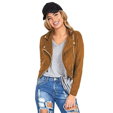 felicove Abrigos para chaquetas de mujer, sexy Invierno Slim Biker moto chaqueta de piel Zipper