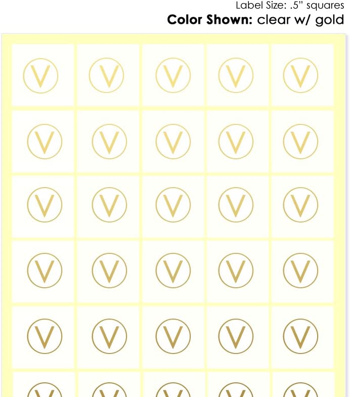 Savor The Memories Food Choice Stickers for Place Cards- Meal Stickers (Clear with Gold Icon, Vegan (V with Circle))