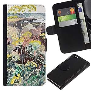 All Phone Most Case / Oferta Especial Cáscara Funda de cuero Monedero Cubierta de proteccion Caso / Wallet Case for Apple Iphone 6 // Flowers Plants Painting Art