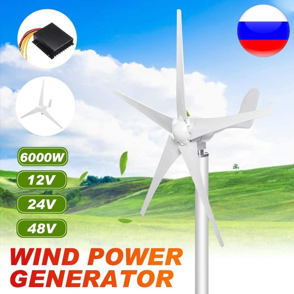 LiRongPing 6000W 12/24 / 48V Energía eólica generador de turbinas de Viento Opción 3/5 Cuchillas con Impermeable Controlador de Carga Ajuste for el país o Acampar (Voltage : 48V): Amazon.es: Hogar