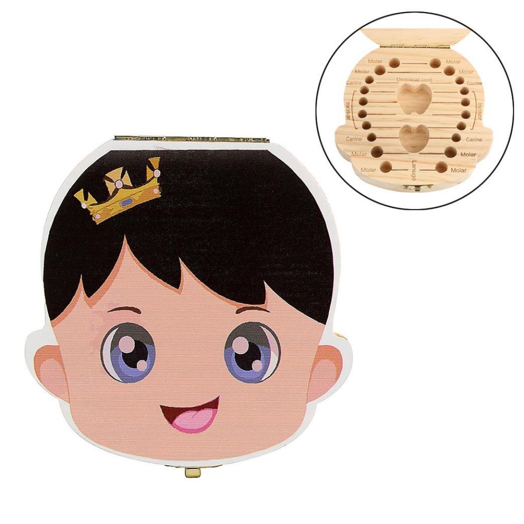 Regalos para Recién Nacidos,VENMO Caja de Dientes para Bebés (Niñas),Caja de almacenamiento de madera para Dientes de leche, VENMO2768
